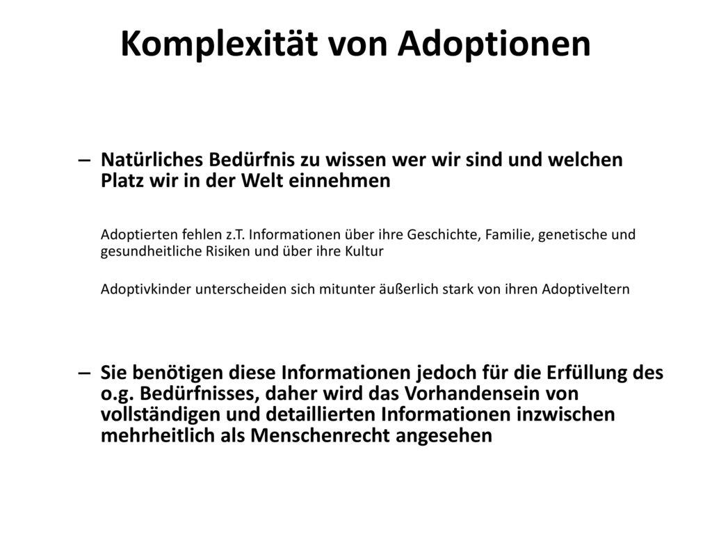 Komplexität von Adoptionen