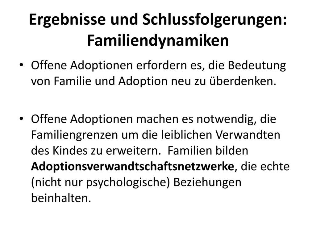 Ergebnisse und Schlussfolgerungen: Familiendynamiken