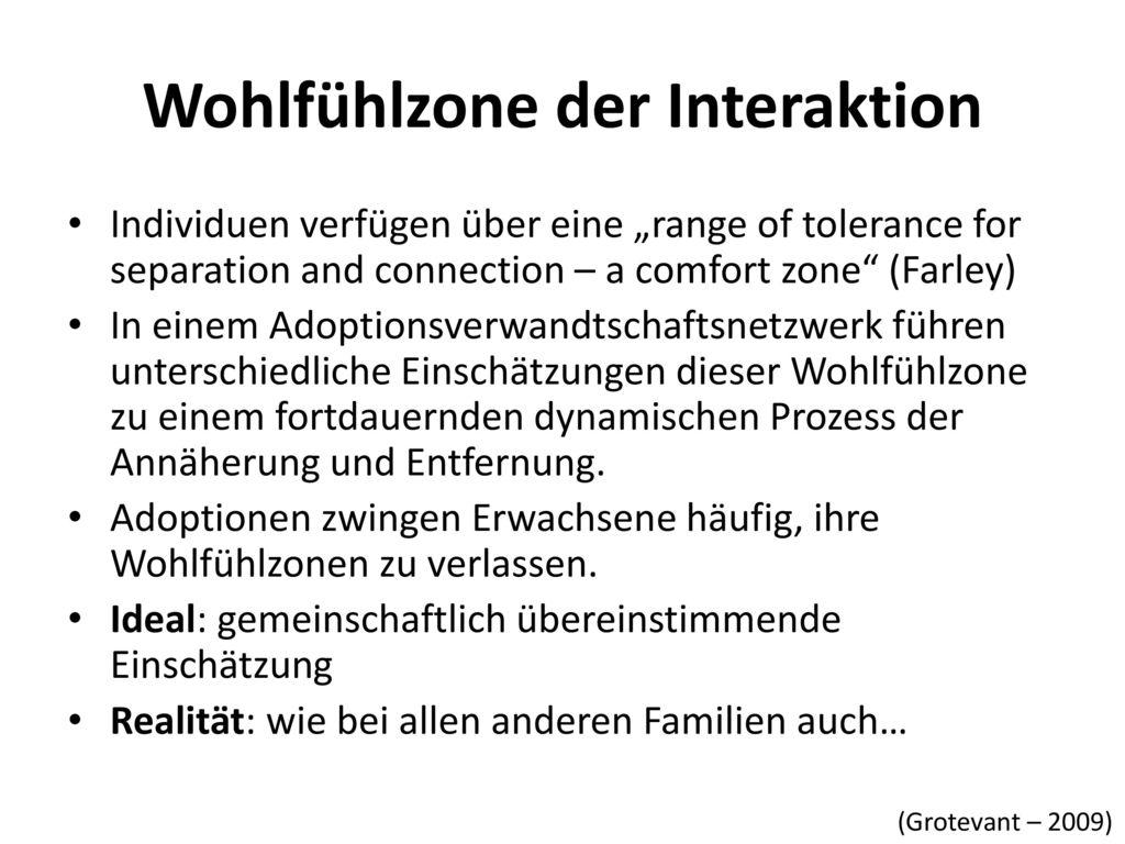 Wohlfühlzone der Interaktion