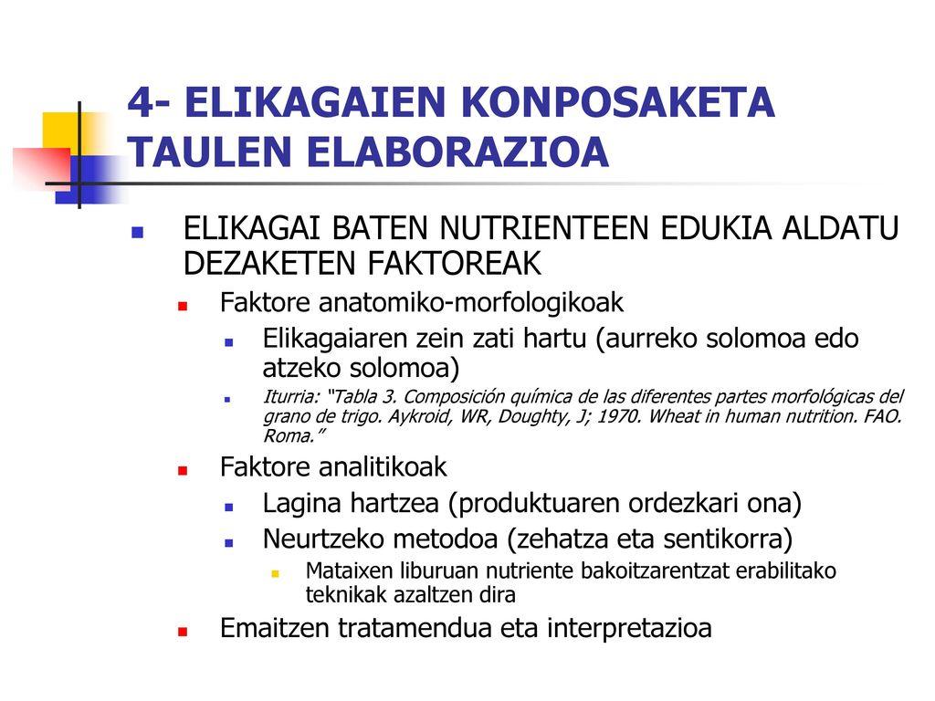4- ELIKAGAIEN KONPOSAKETA TAULEN ELABORAZIOA