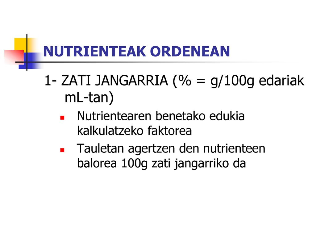 1- ZATI JANGARRIA (% = g/100g edariak mL-tan)