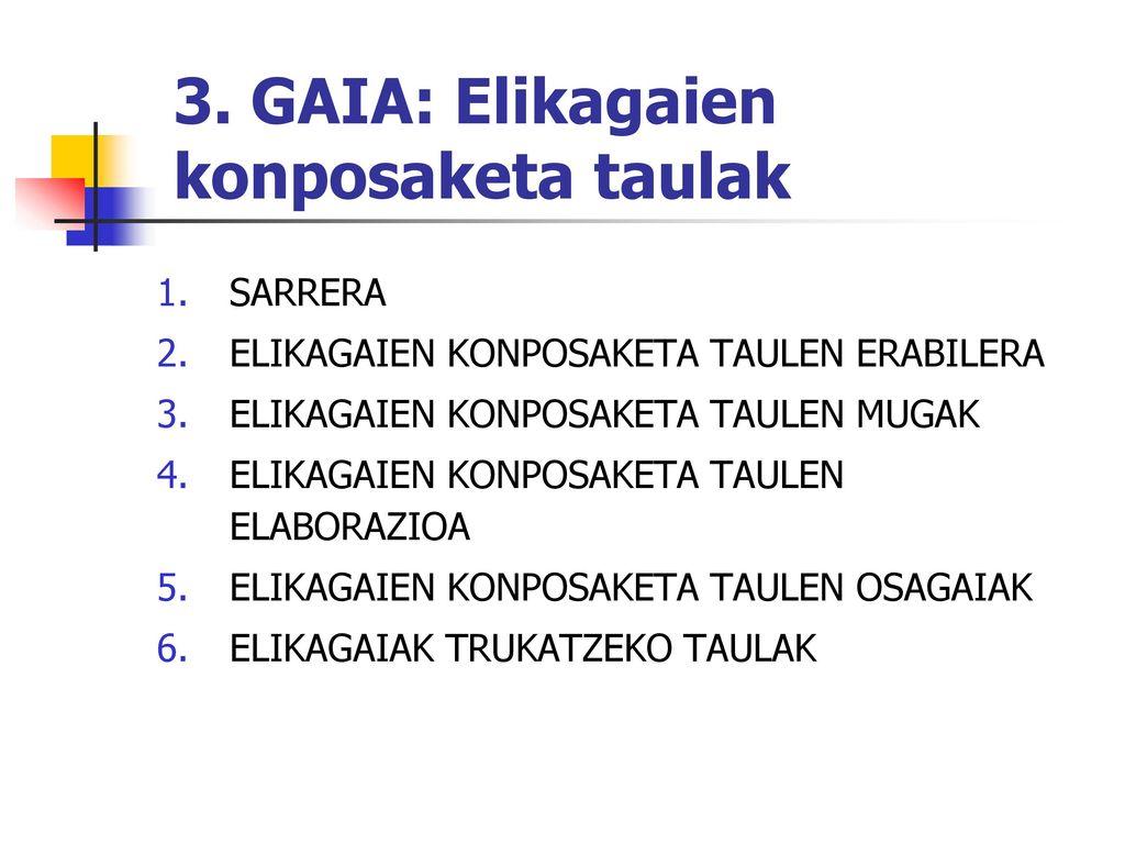 3. GAIA: Elikagaien konposaketa taulak