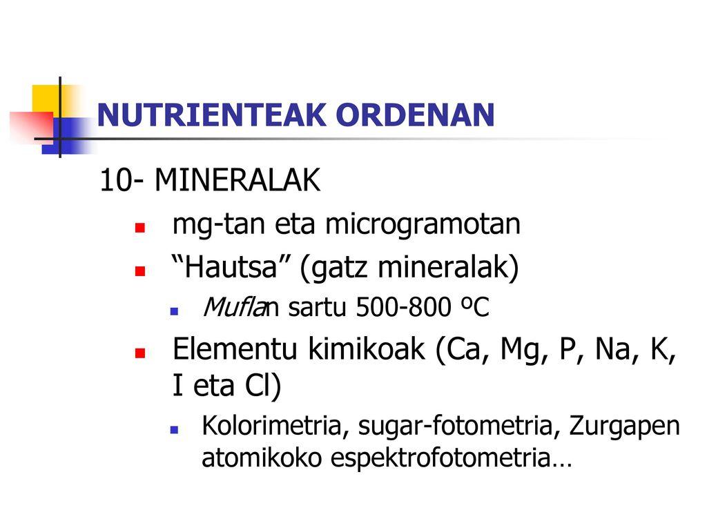 NUTRIENTEAK ORDENAN 10- MINERALAK Hautsa (gatz mineralak)