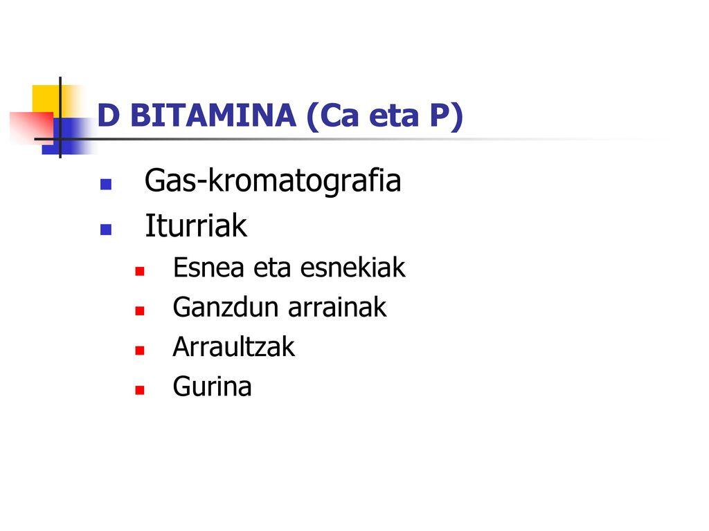 D BITAMINA (Ca eta P) Gas-kromatografia Iturriak Esnea eta esnekiak