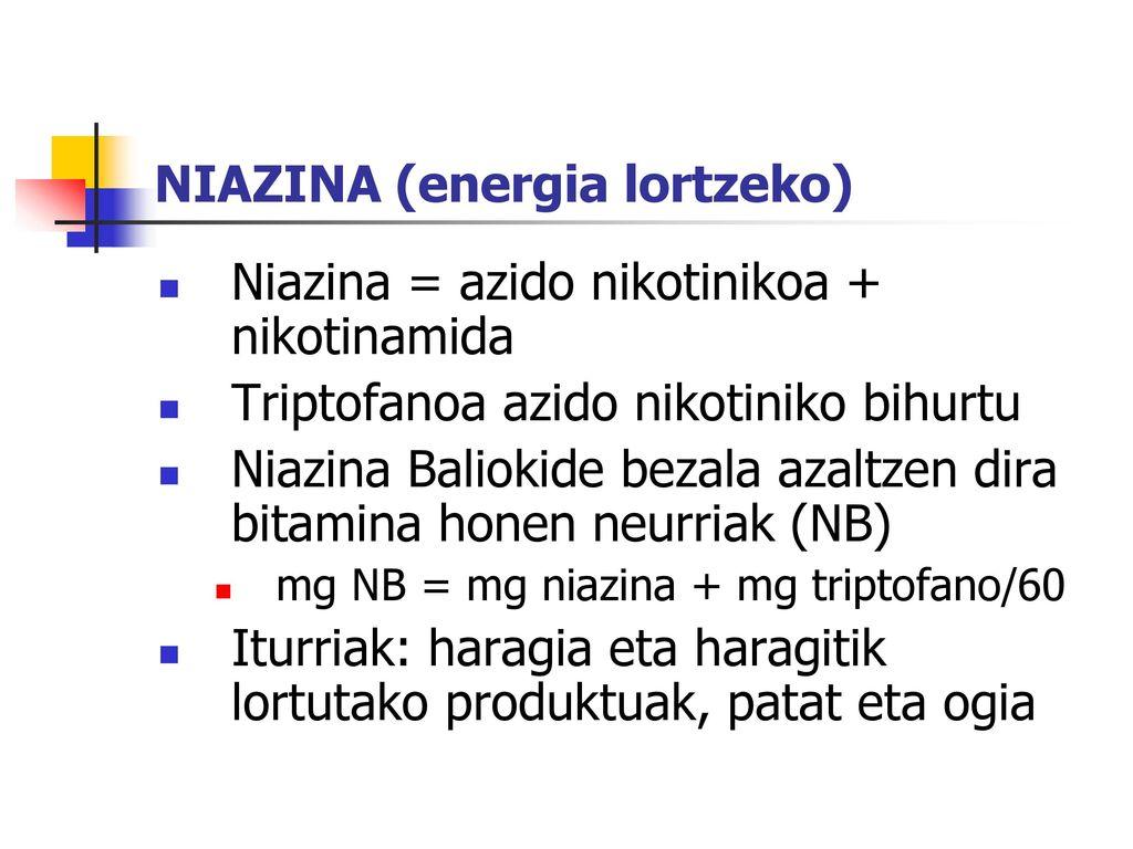 NIAZINA (energia lortzeko)