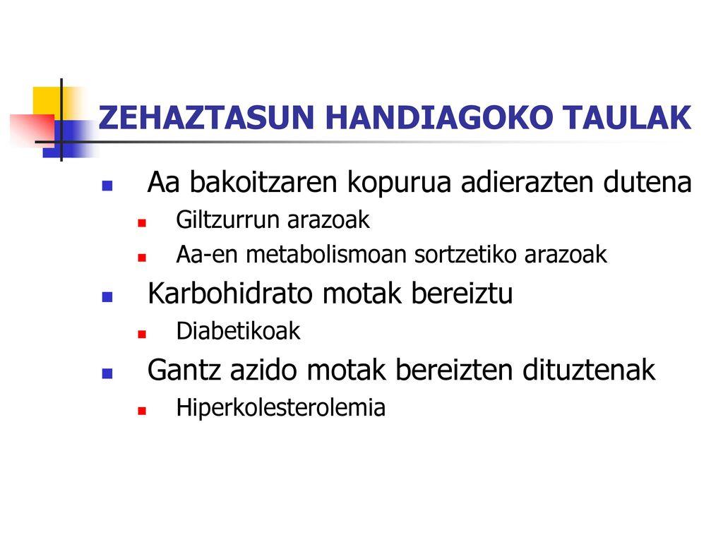 ZEHAZTASUN HANDIAGOKO TAULAK