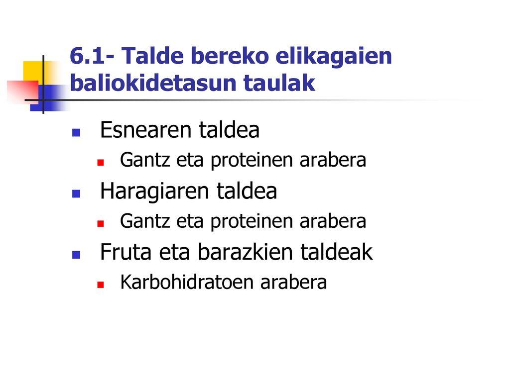 6.1- Talde bereko elikagaien baliokidetasun taulak