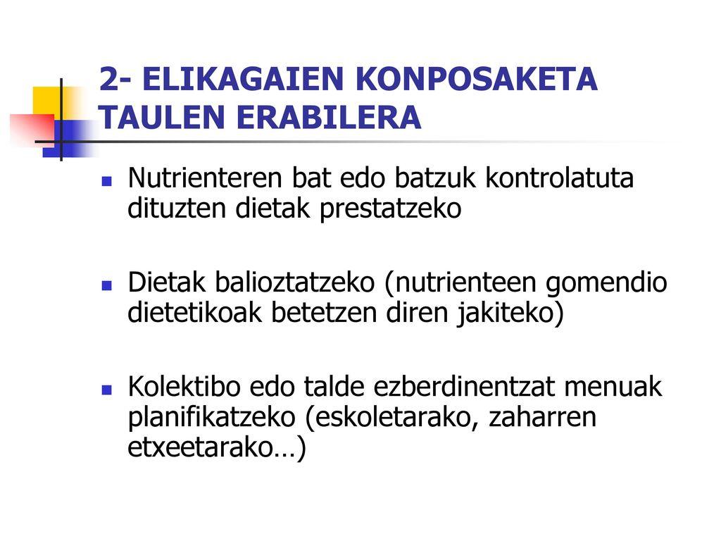 2- ELIKAGAIEN KONPOSAKETA TAULEN ERABILERA