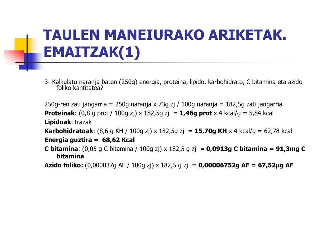 TAULEN MANEIURAKO ARIKETAK. EMAITZAK(1)