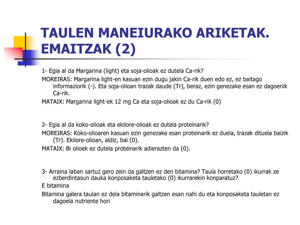 TAULEN MANEIURAKO ARIKETAK. EMAITZAK (2)
