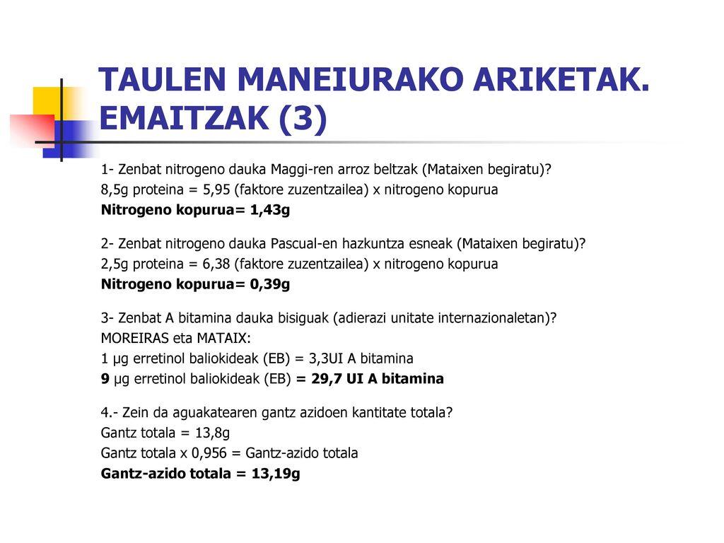 TAULEN MANEIURAKO ARIKETAK. EMAITZAK (3)
