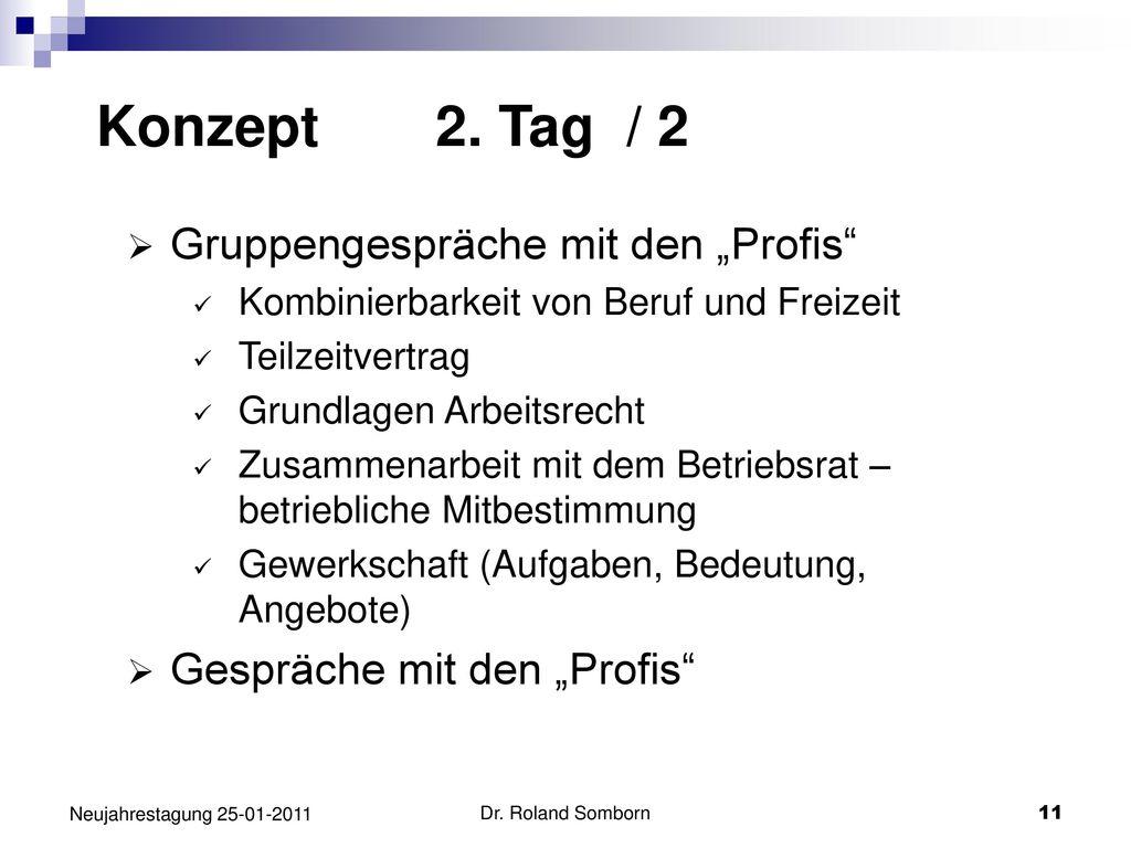 """Konzept 2. Tag / 2 Gruppengespräche mit den """"Profis"""