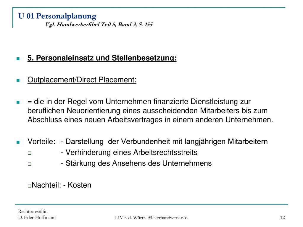 U 01 Personalplanung Vgl. Handwerkerfibel Teil 5, Band 3, S. 155