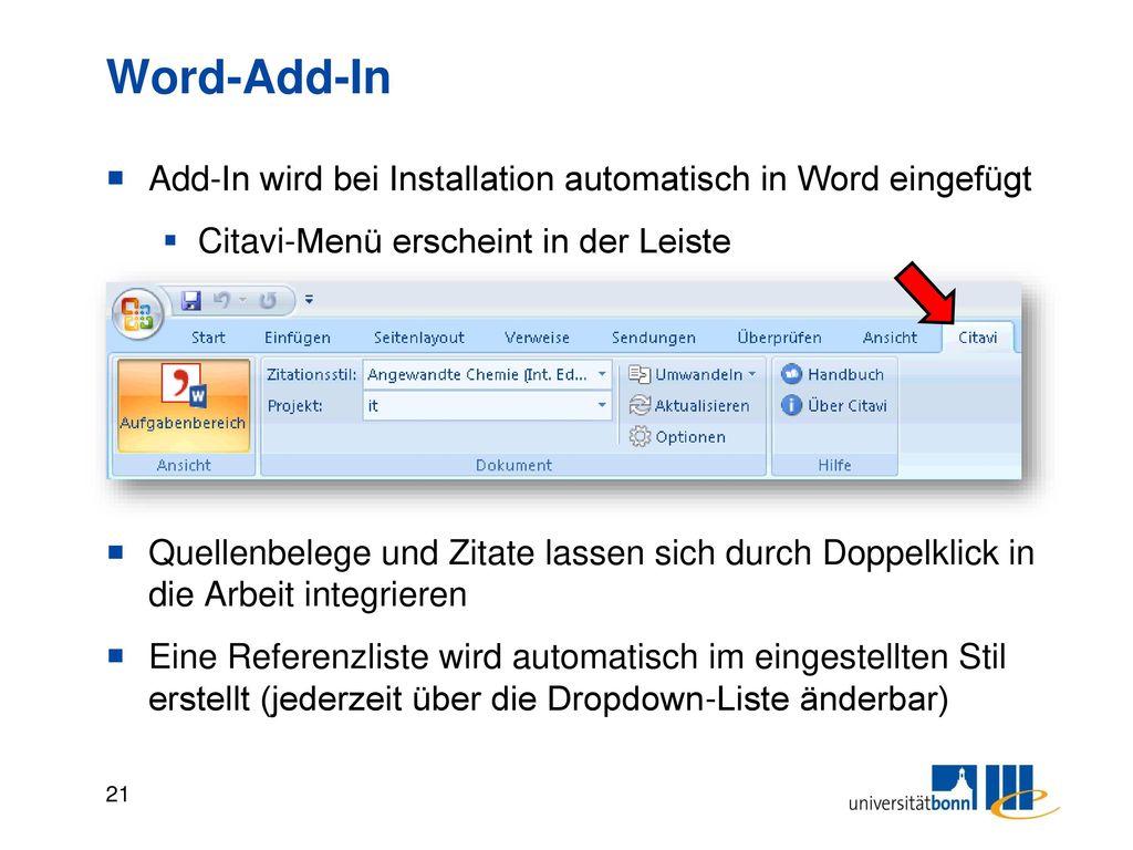 Word-Add-In In Aufgabenbereich das gewünschte Projekt auswählen