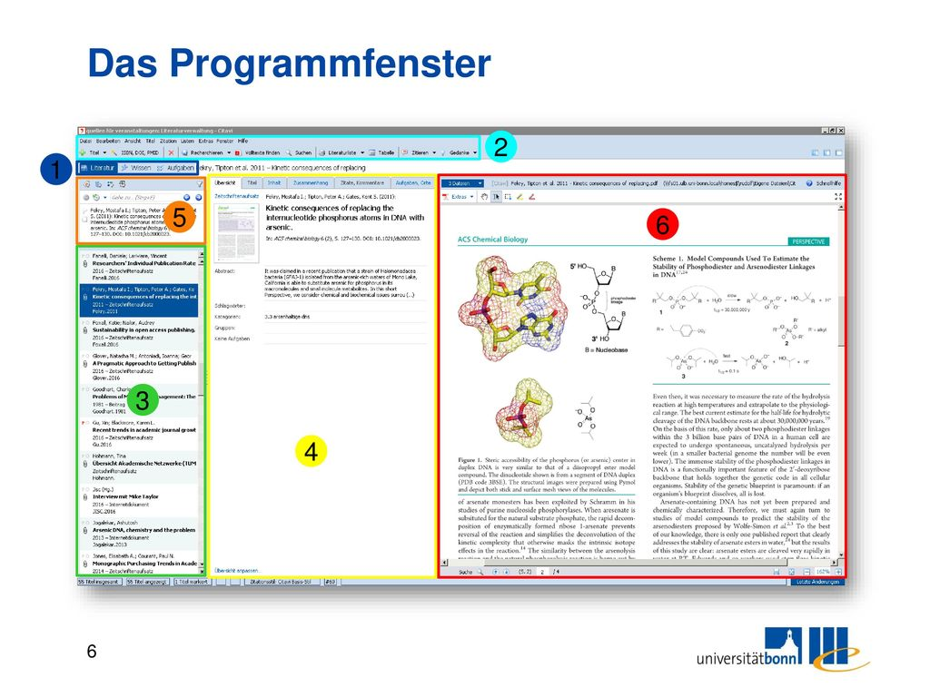 Das Programmfenster 1. Drei Programmbereiche