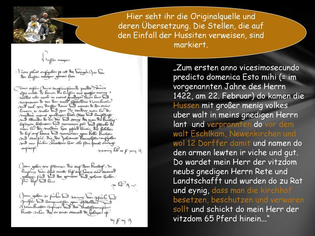 Hier seht ihr die Originalquelle und deren Übersetzung