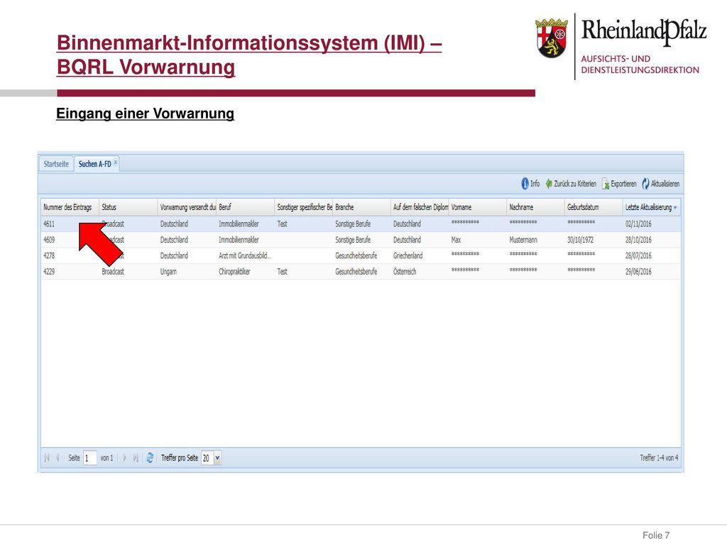 Binnenmarkt-Informationssystem (IMI) – BQRL Vorwarnung