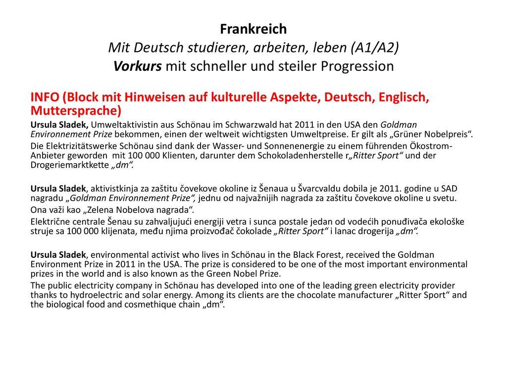 Frankreich Mit Deutsch studieren, arbeiten, leben (A1/A2) Vorkurs mit schneller und steiler Progression