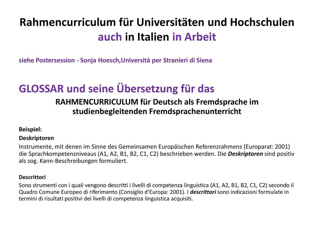 Rahmencurriculum für Universitäten und Hochschulen auch in Italien in Arbeit