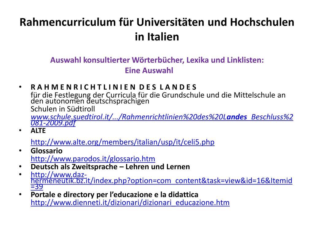 Rahmencurriculum für Universitäten und Hochschulen in Italien