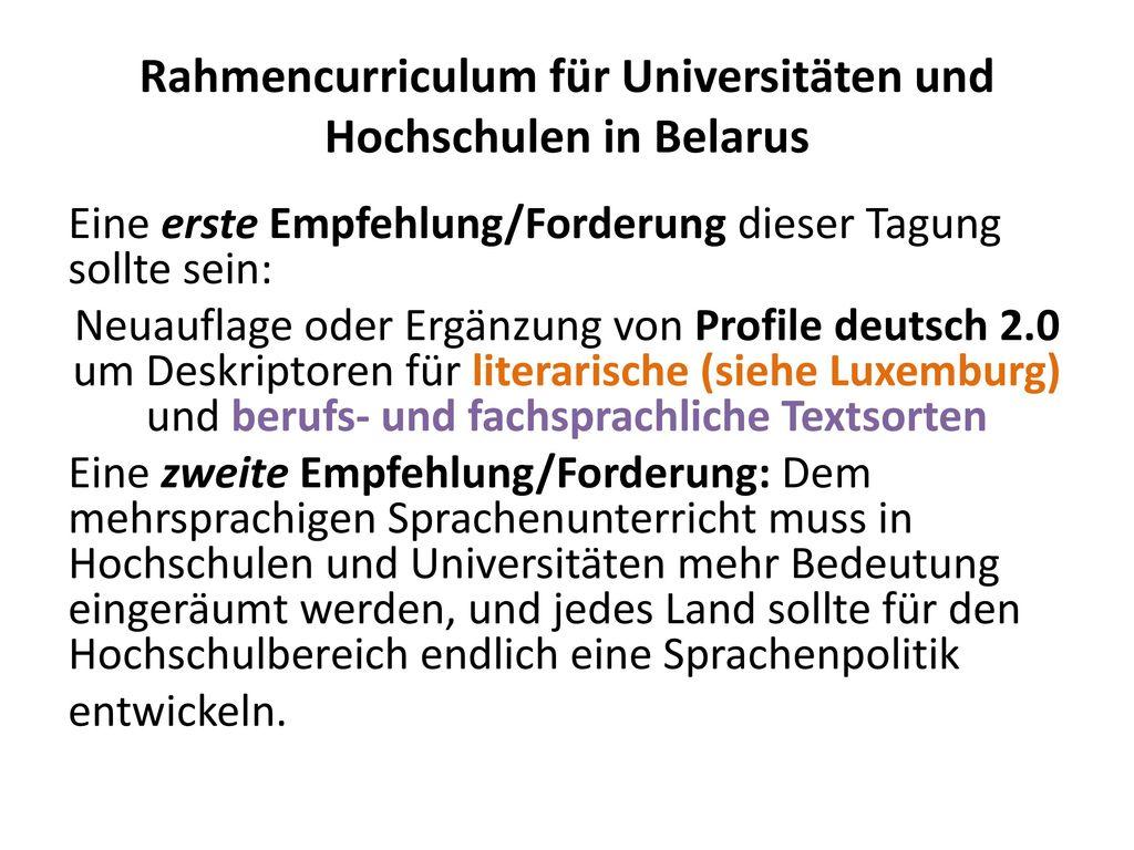 Rahmencurriculum für Universitäten und Hochschulen in Belarus