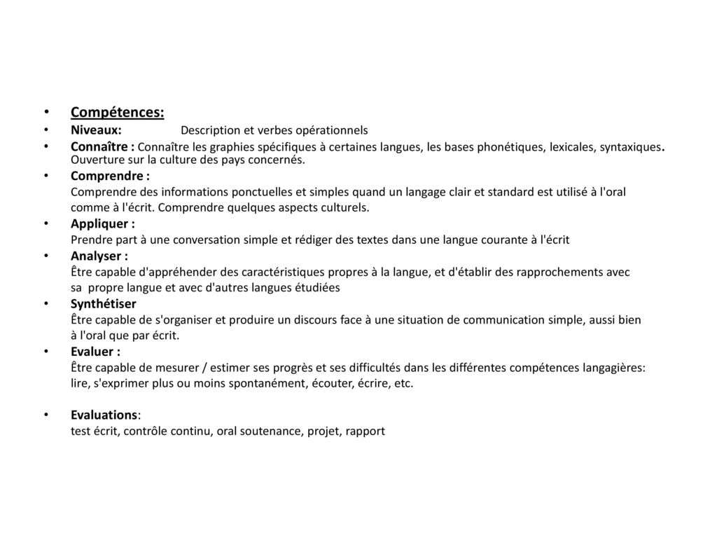 Compétences: Niveaux: Description et verbes opérationnels