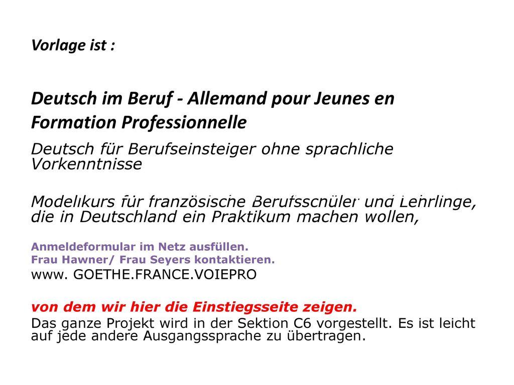 Vorlage ist : Deutsch im Beruf - Allemand pour Jeunes en Formation Professionnelle