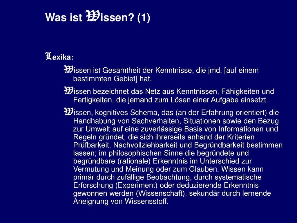 Was ist Wissen (1) Lexika: