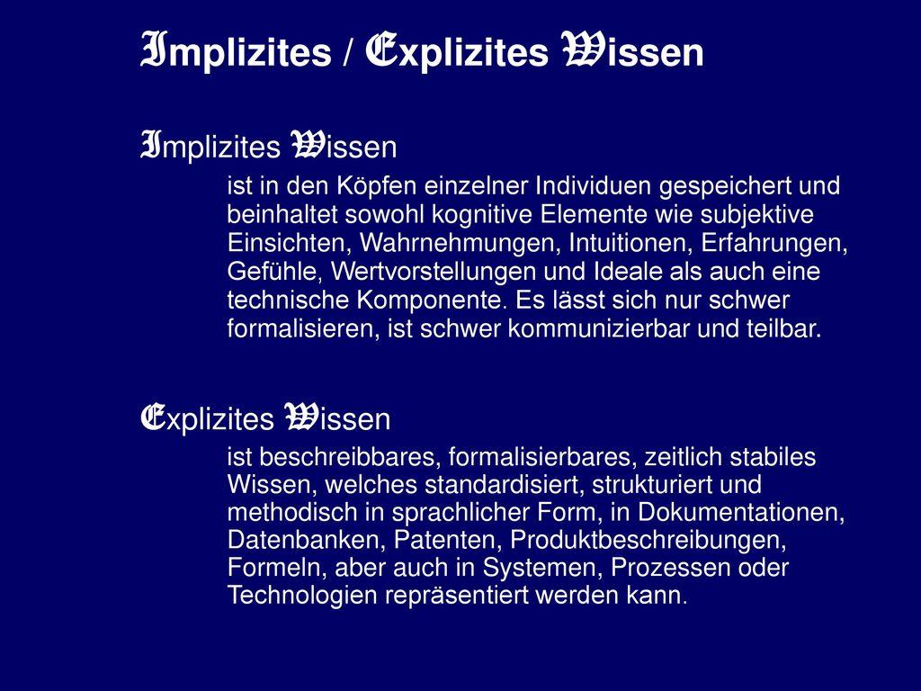 Implizites / Explizites Wissen