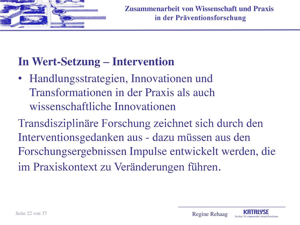 In Wert-Setzung – Intervention