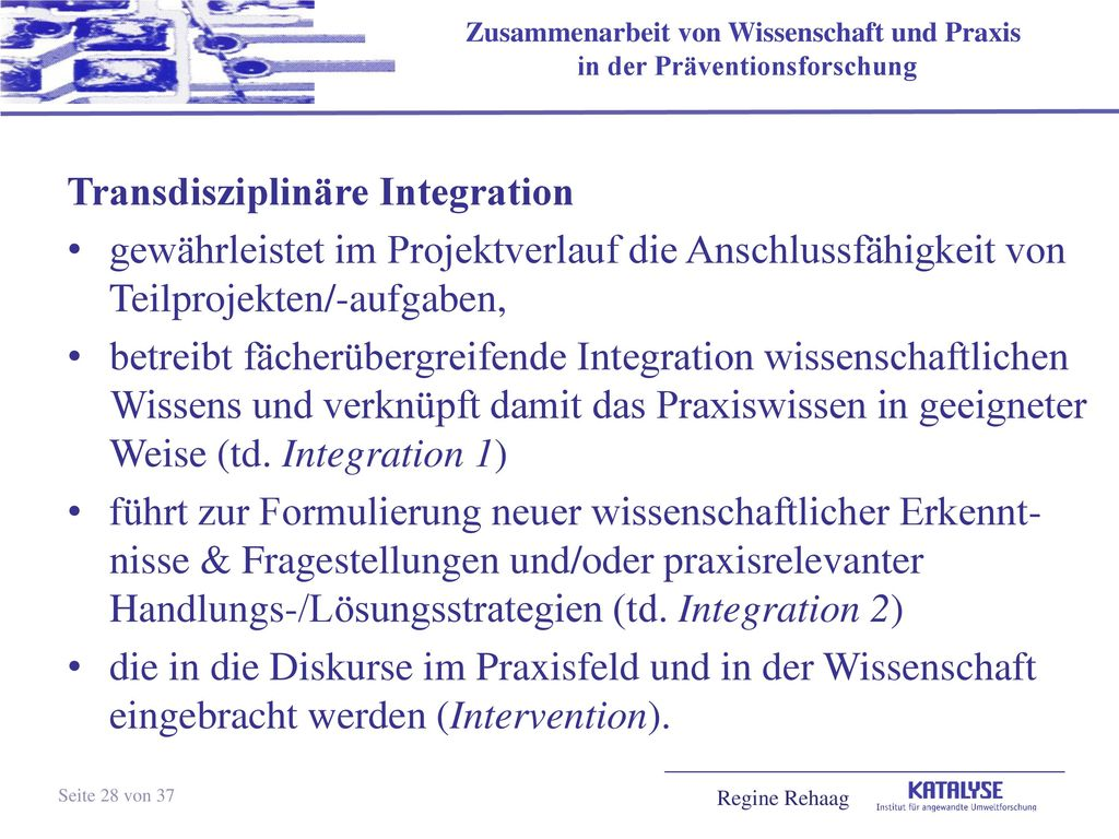 Transdisziplinäre Integration