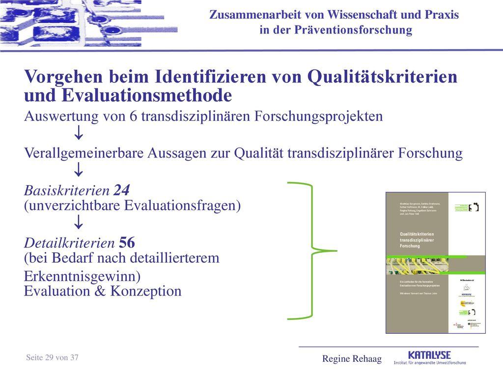 Vorgehen beim Identifizieren von Qualitätskriterien und Evaluationsmethode