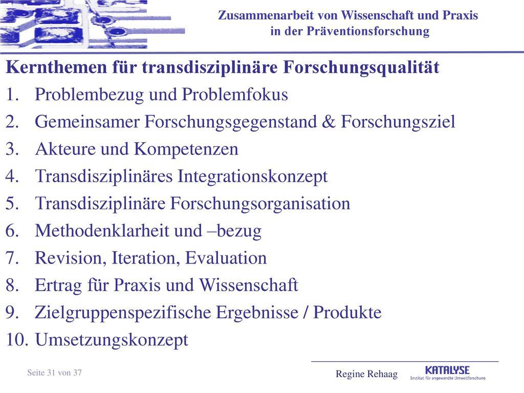 Kernthemen für transdisziplinäre Forschungsqualität