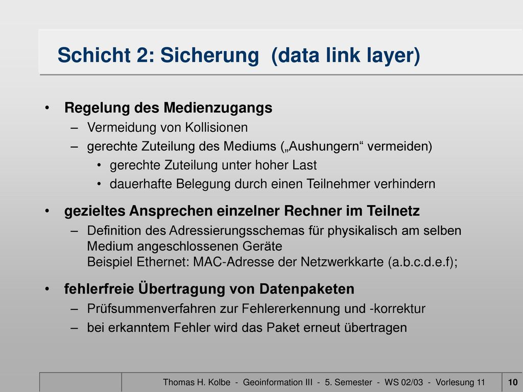 Schicht 2: Sicherung (data link layer)