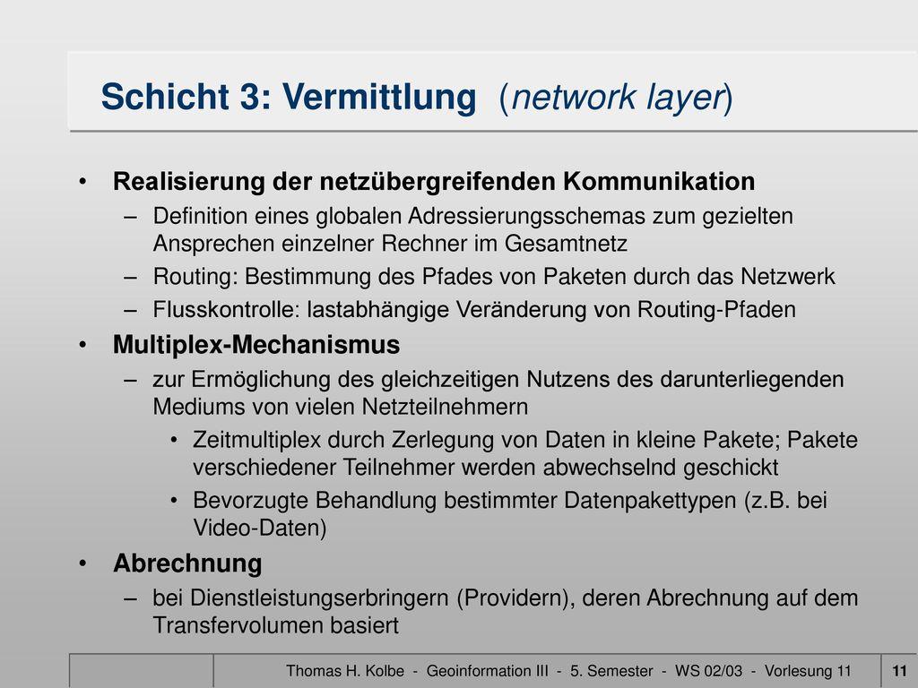 Schicht 3: Vermittlung (network layer)
