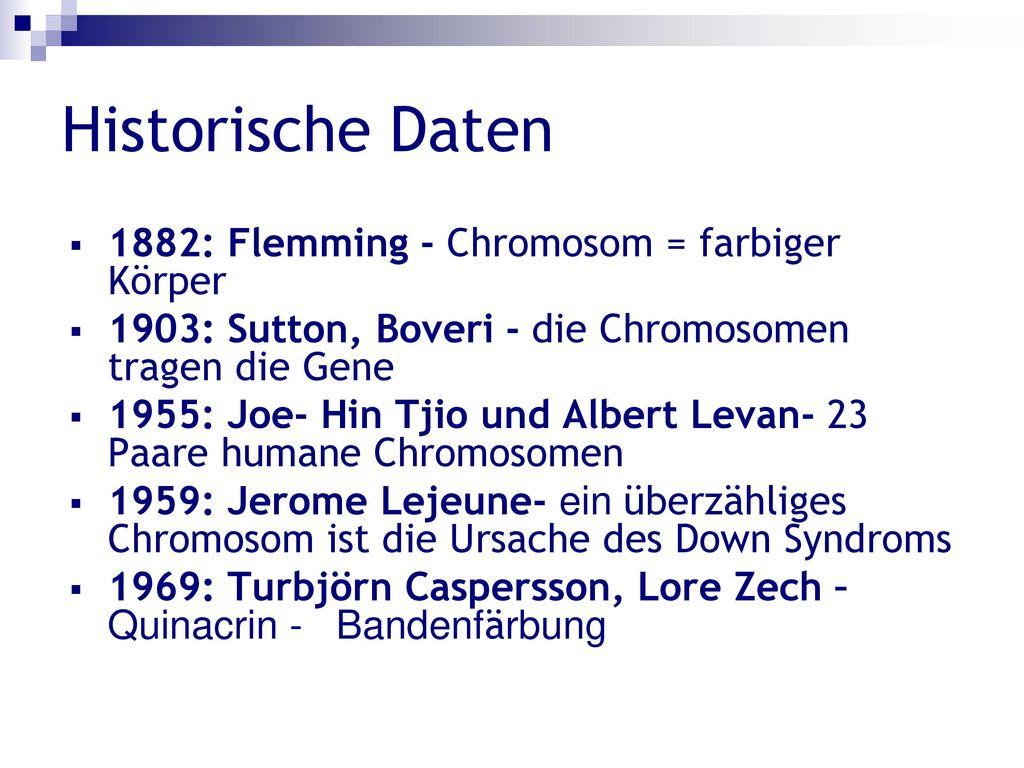Historische Daten 1882: Flemming - Chromosom = farbiger Körper