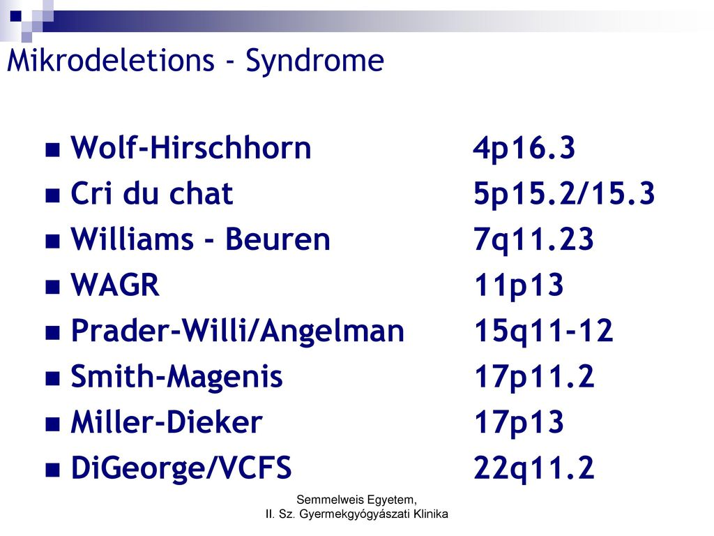 Mikrodeletions - Syndrome