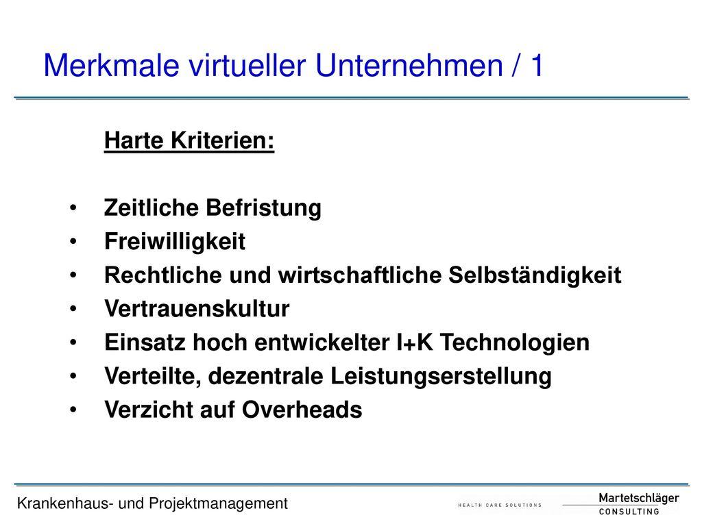 Merkmale virtueller Unternehmen / 1