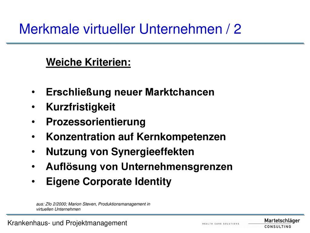 Merkmale virtueller Unternehmen / 2