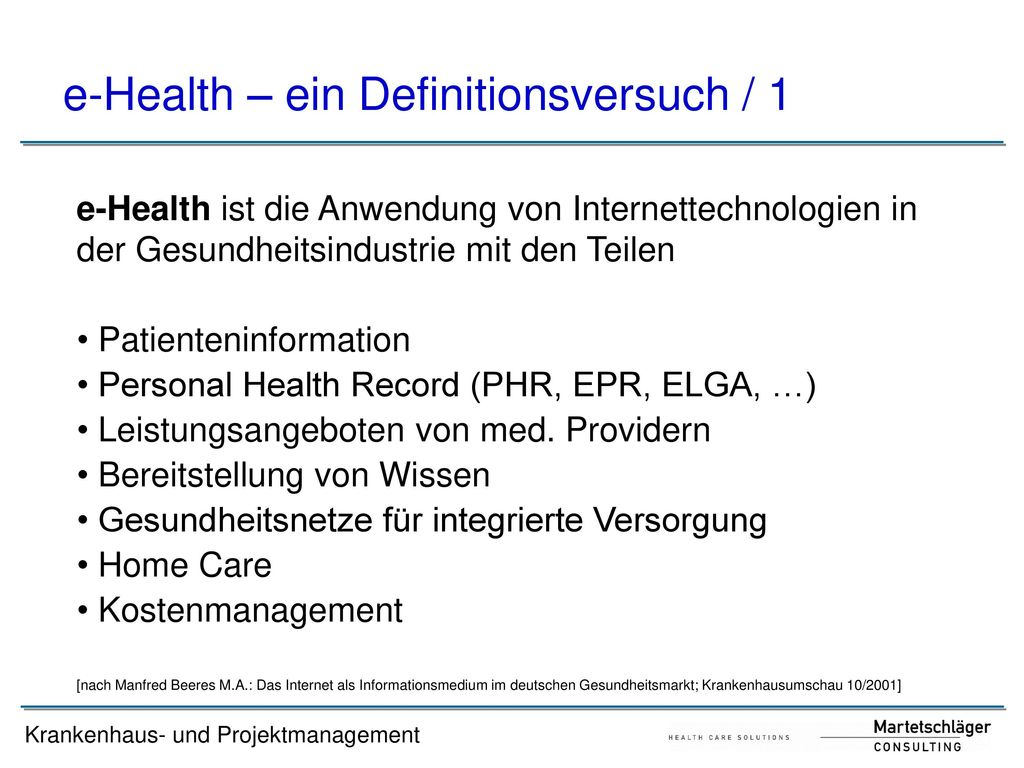 e-Health – ein Definitionsversuch / 1