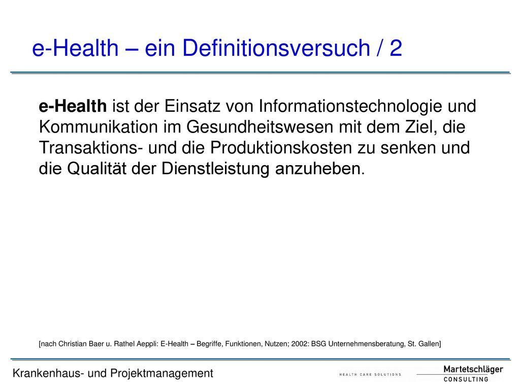 e-Health – ein Definitionsversuch / 2