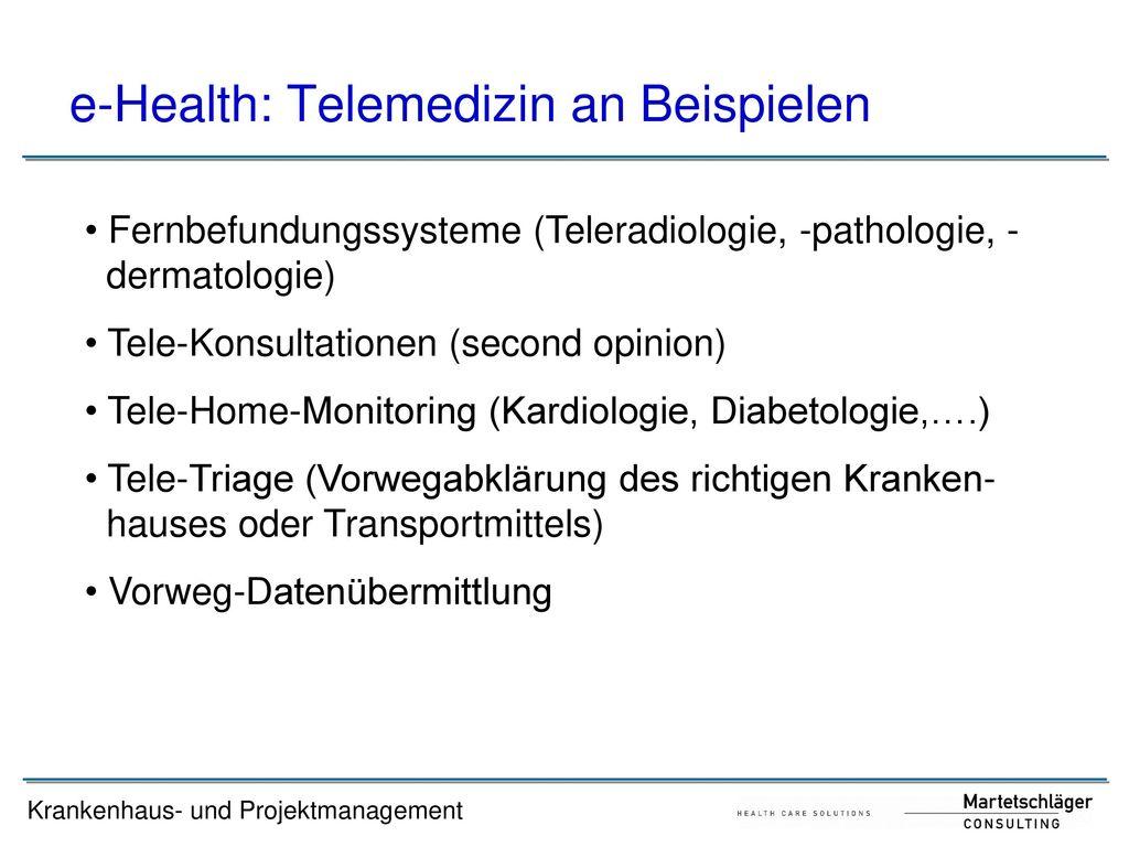 e-Health: Telemedizin an Beispielen