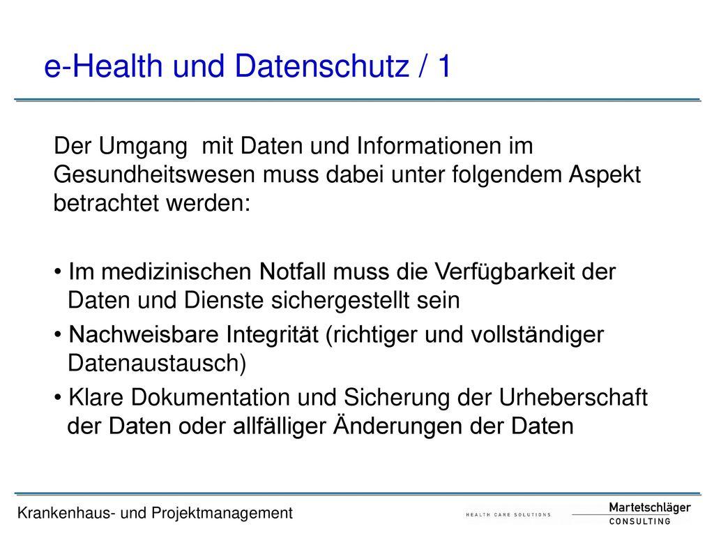 e-Health und Datenschutz / 1