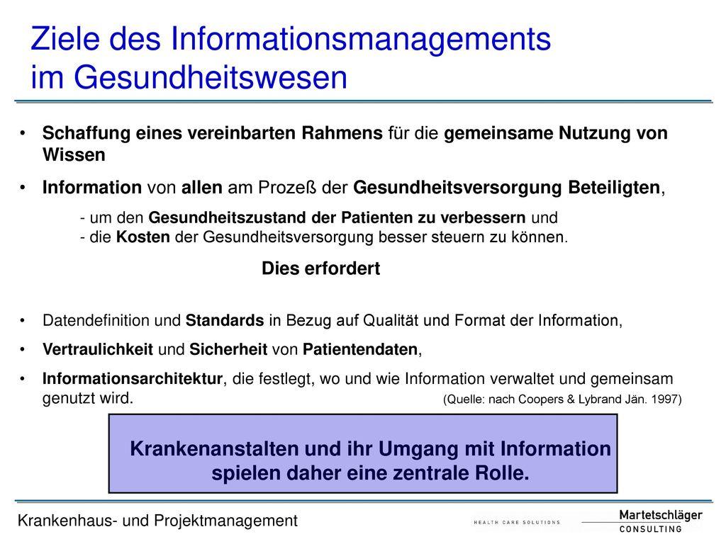 Ziele des Informationsmanagements im Gesundheitswesen