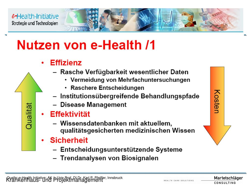 Quelle: e-Health Initiative; AK 1: Univ. Prof. DI. Dr. Karl P