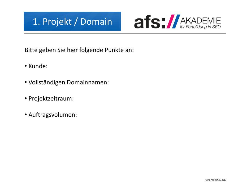 1. Projekt / Domain Bitte geben Sie hier folgende Punkte an: Kunde: