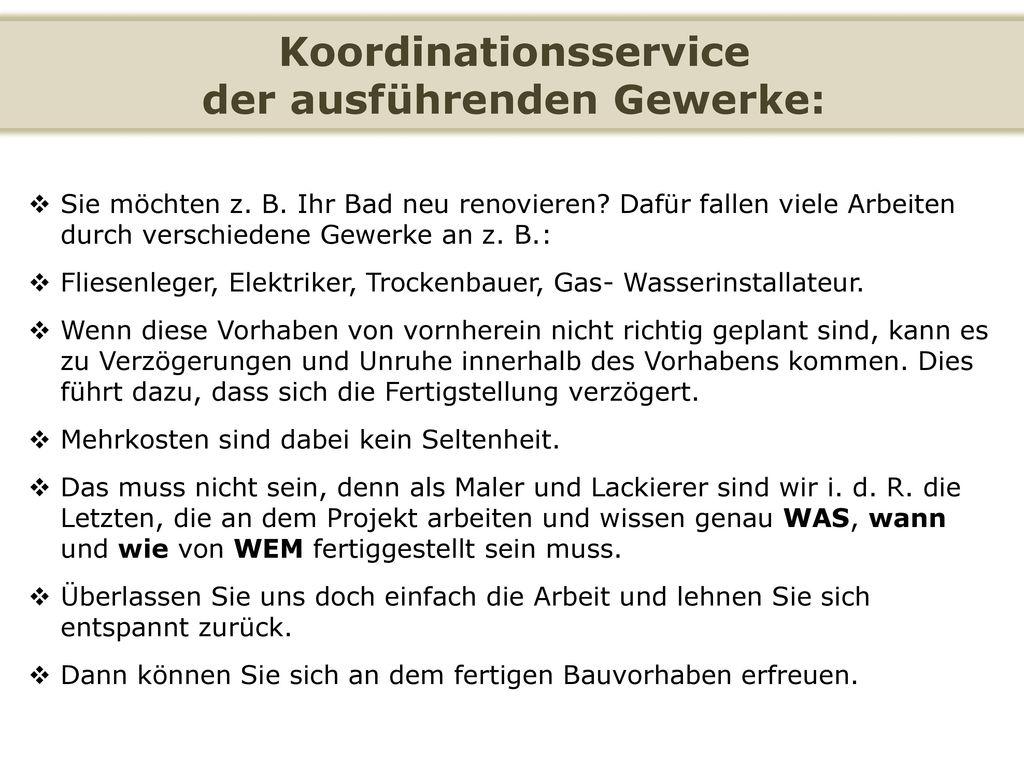 Koordinationsservice der ausführenden Gewerke: