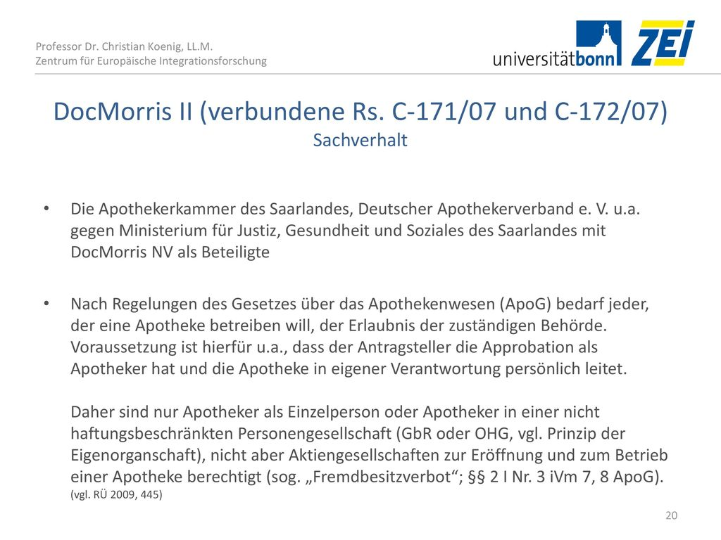 DocMorris II (verbundene Rs. C‑171/07 und C‑172/07) Sachverhalt