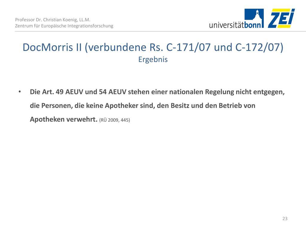 DocMorris II (verbundene Rs. C‑171/07 und C‑172/07) Ergebnis