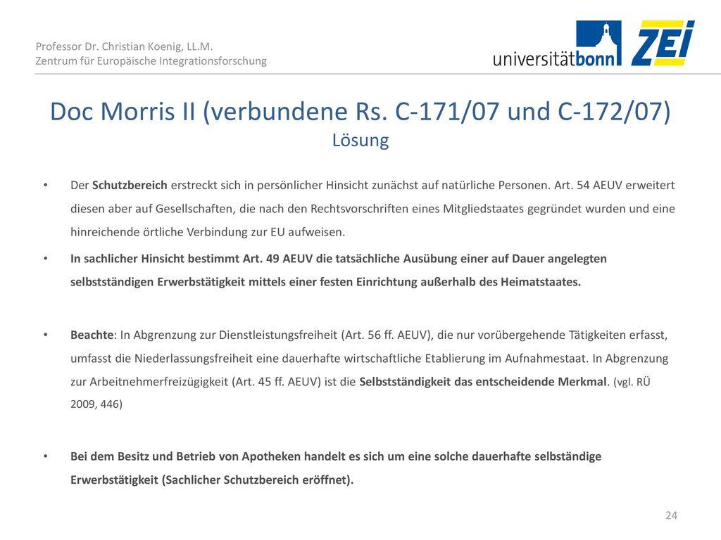 Doc Morris II (verbundene Rs. C‑171/07 und C‑172/07) Lösung